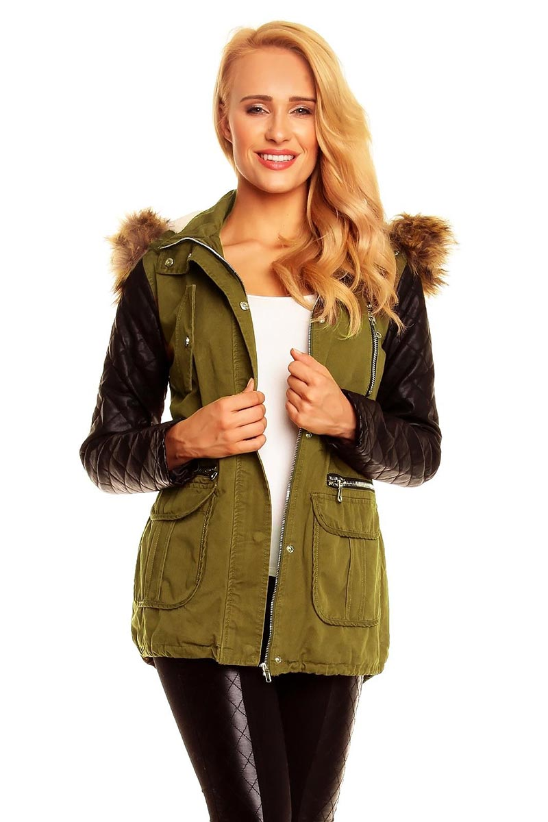 Women's olive-green parka jacket with leather-look sleeves