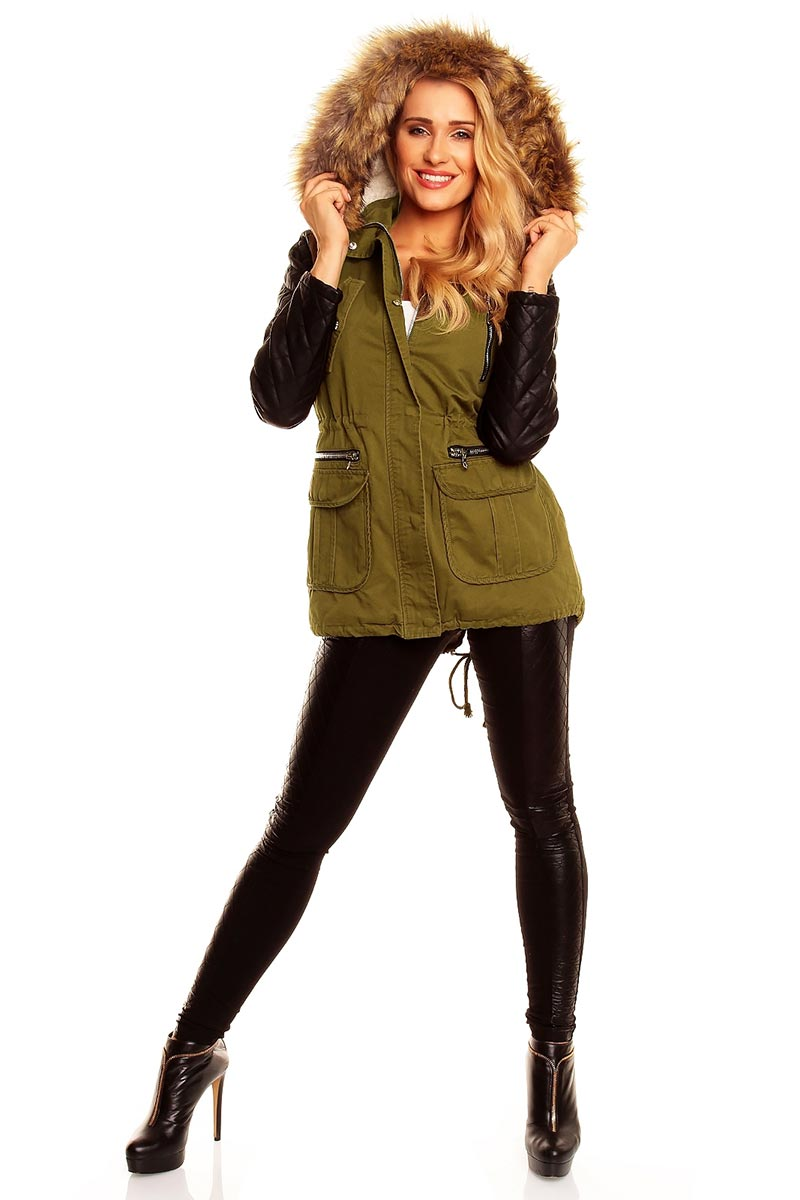 Green parka with leather look sleeves