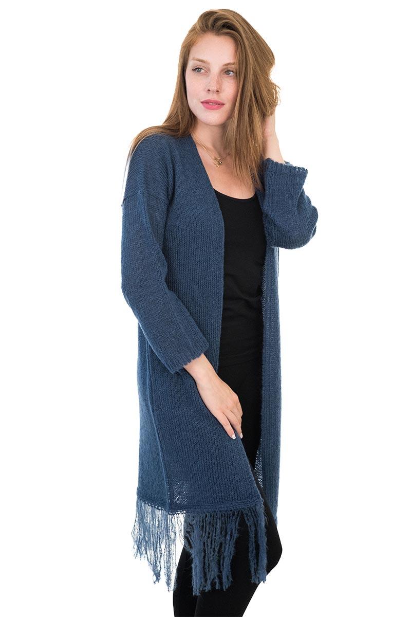 651343b100b5 Agel Knitwear μακριά πλεκτή ζακέτα μπλε με κρόσια - w15545-bl