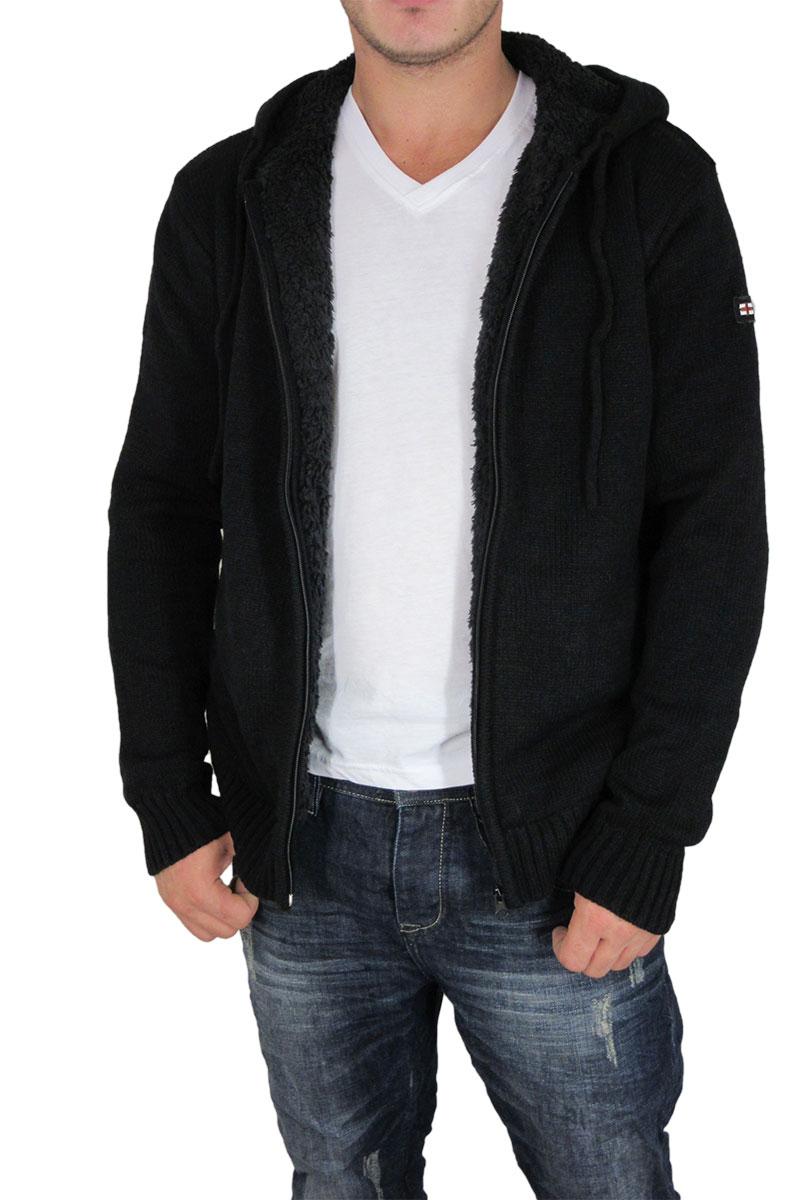 Ανδρική πλεκτή ζακέτα μαύρη με γούνα ανδρικα   πλεκτά