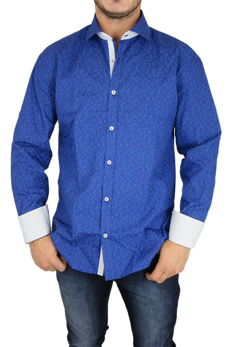 Bades Shirts ανδρικό slim fit πουκάμισο μπλε ρουά φλοράλ