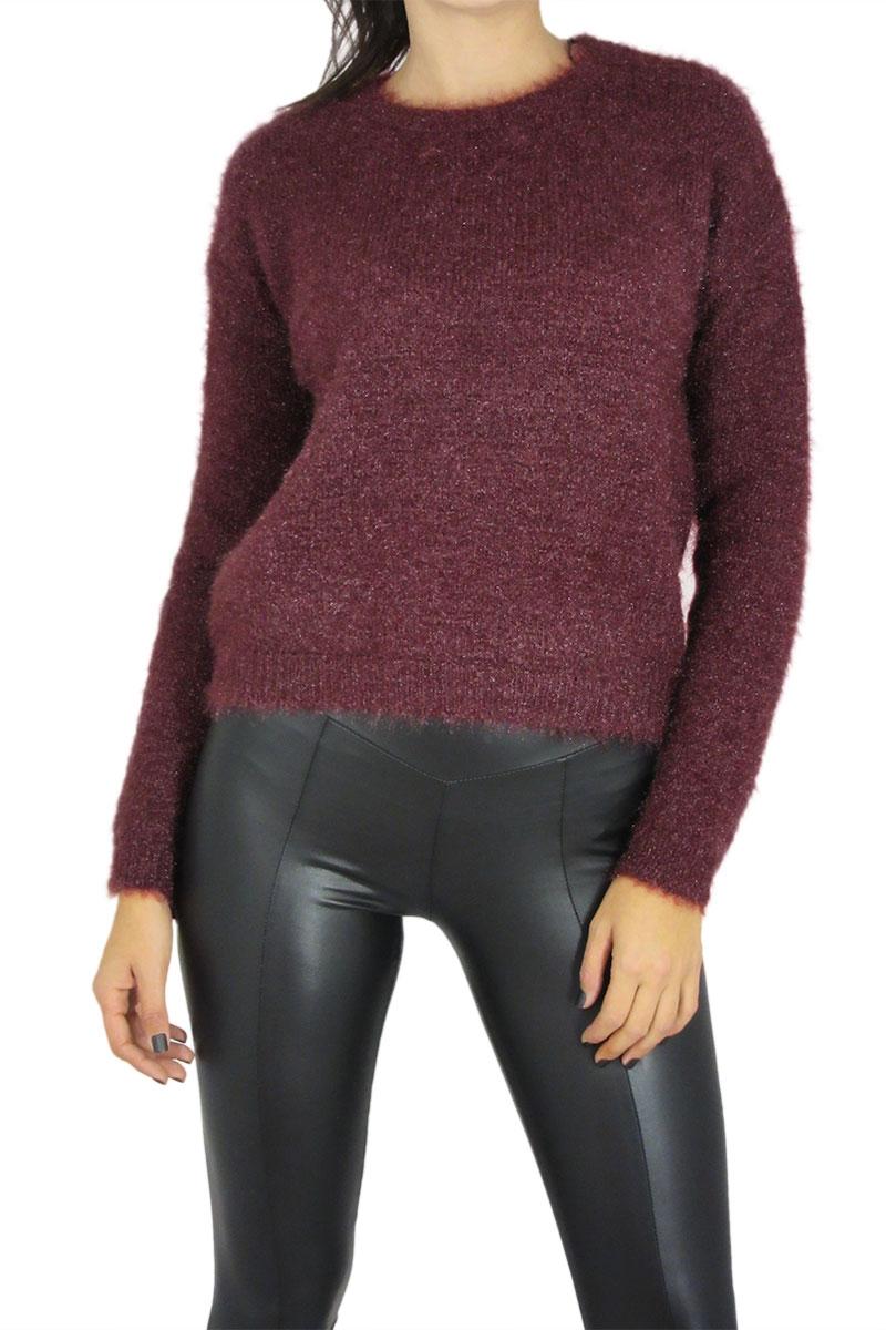 aa8c7df13b90 Γυναικείο χνουδωτό πουλόβερ μεταλιζέ μπορντό