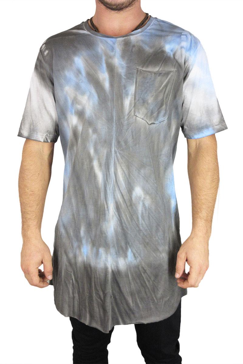 Minimarket super longline tie dye t-shirt μπλε - mits93