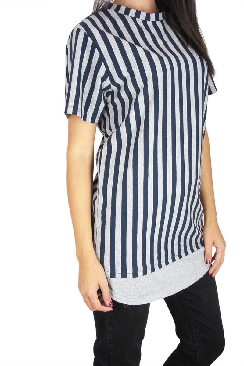 Minimarket longline ριγέ t-shirt γκρι-navy 0788e046c5c