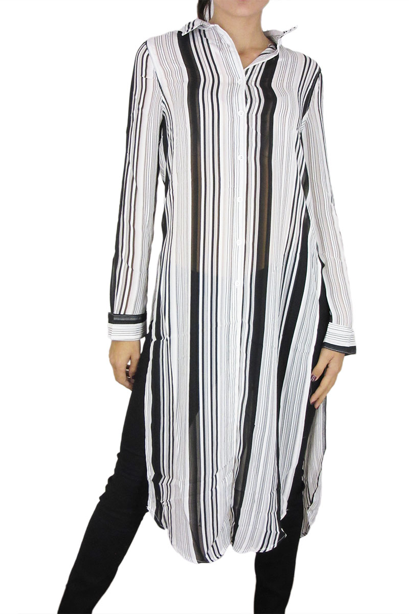 Σιφόν ριγέ μίντι πουκάμισο-φόρεμα κρεμ-μαύρο