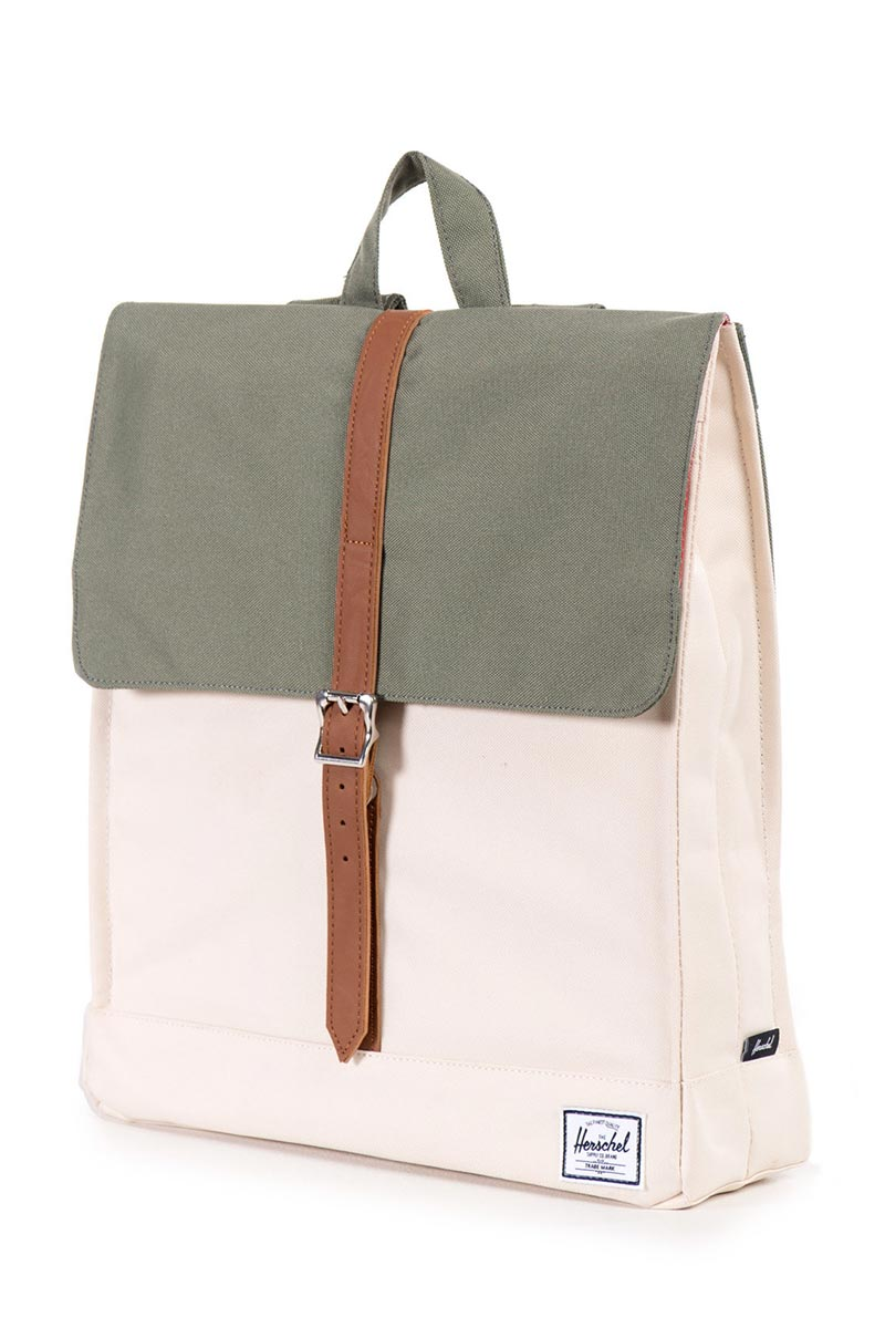 Herschel Supply Co. City mid volume backpack deep lichen green natural tan  synthetic leather fccd249384d17