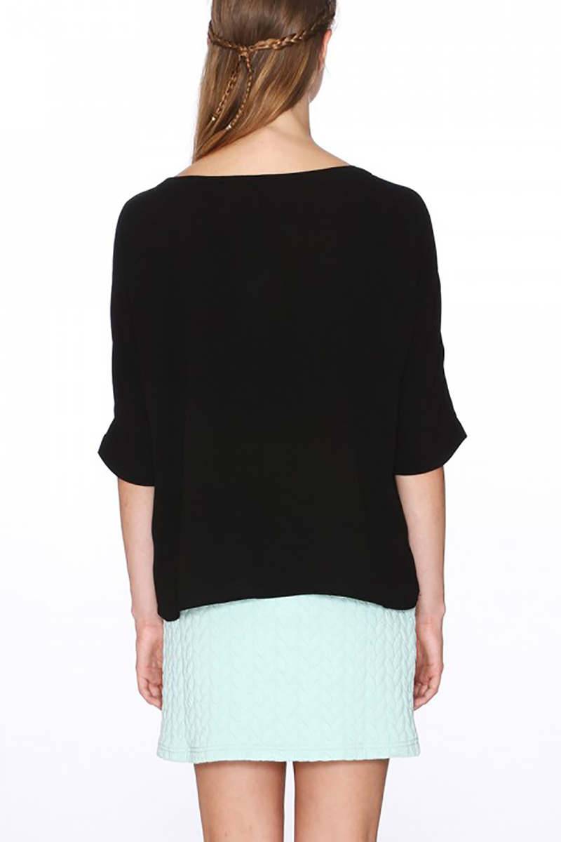 Pepaloves half sleeve black top with pockets