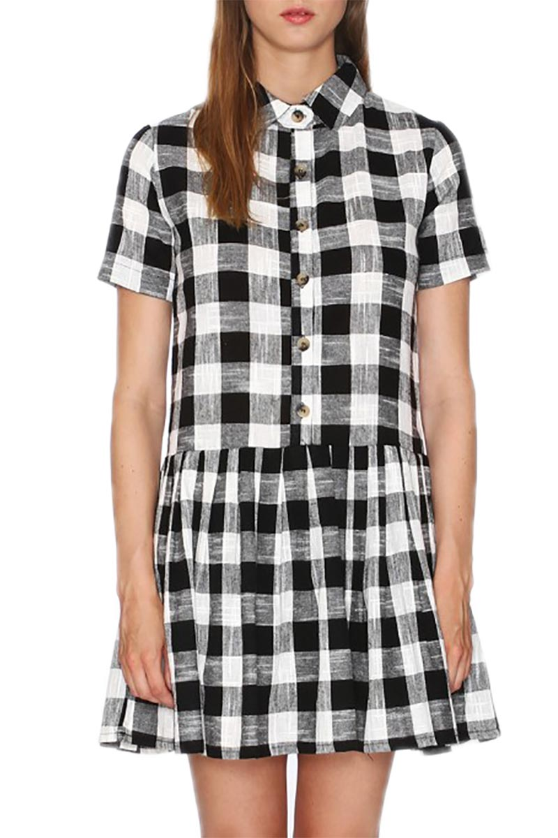 Pepaloves ασπρόμαυρο καρό σεμιζιέ φόρεμα γυναικεια     φορέματα