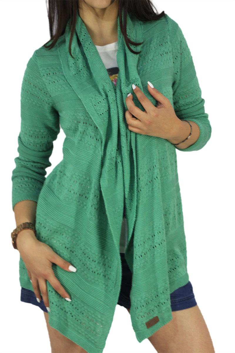 Agel Knitwear ζακέτα πράσινη με αζούρ πλέξη