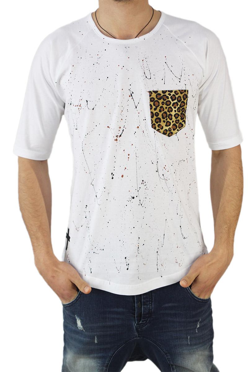64857db8e2 Crossover ανδρική longline μπλούζα λευκή με άνιμαλ τσέπη