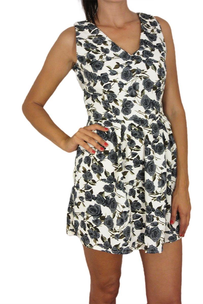 Μίνι φόρεμα με γκρι τριαντάφυλλα και V-πλάτη