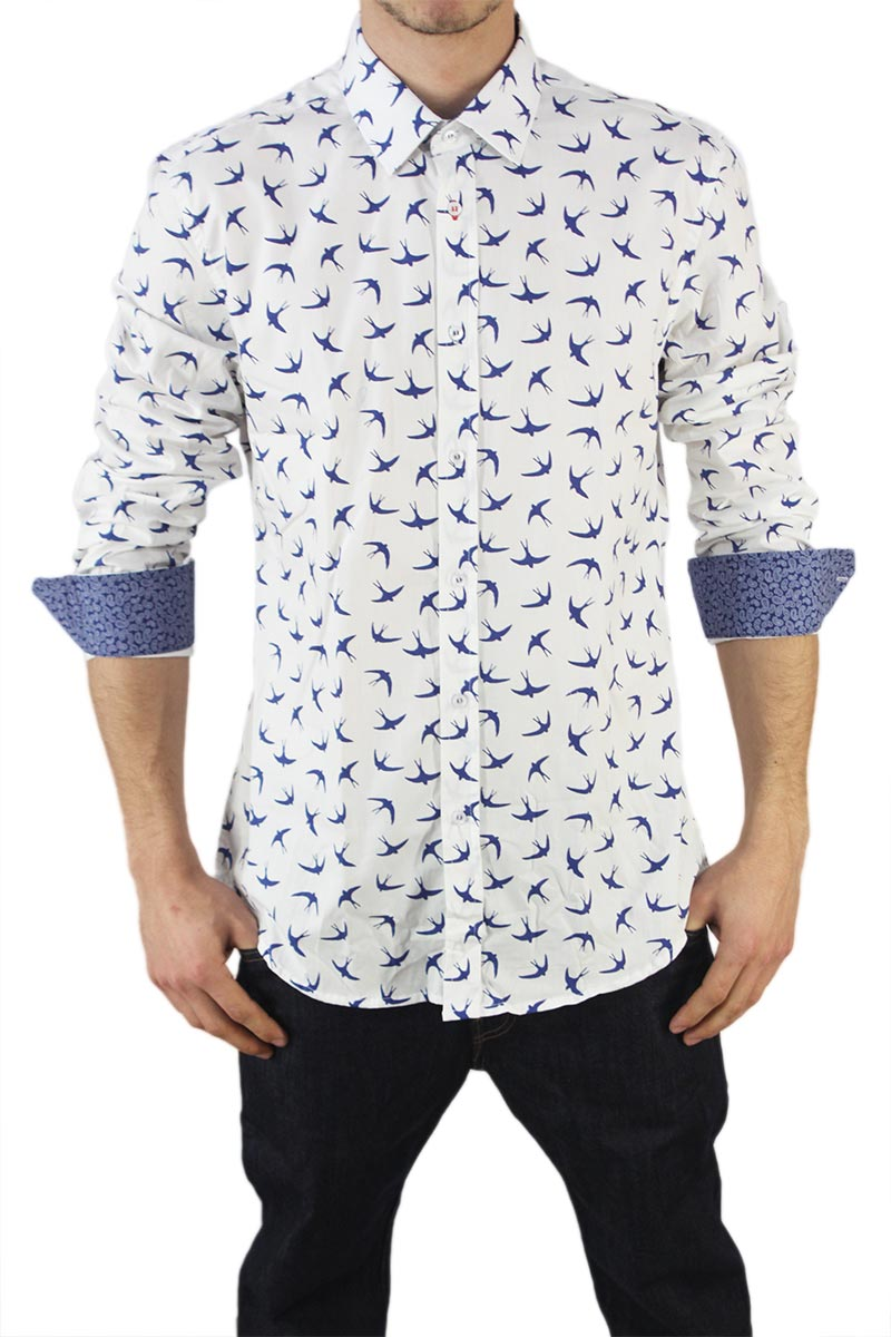 Missone men's shirt white with swallows print