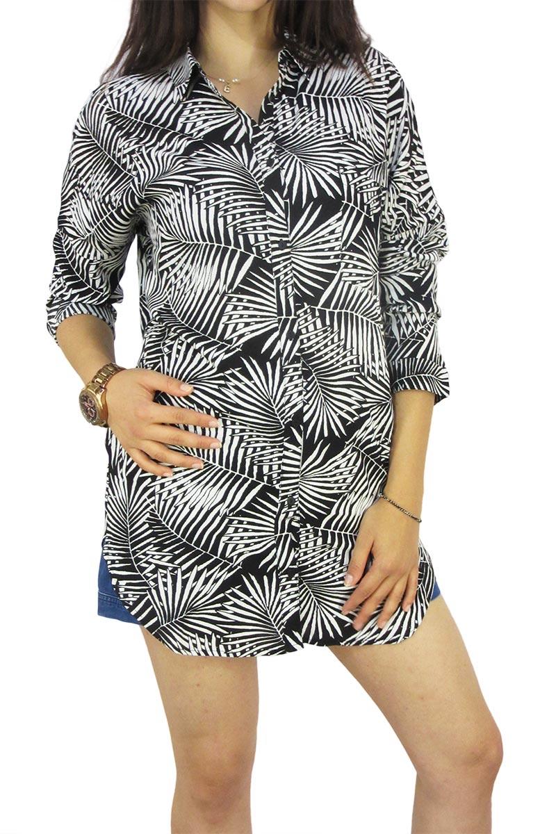 Soft Rebels longline πουκάμισο Louisa ασπρόμαυρο - sr316-752