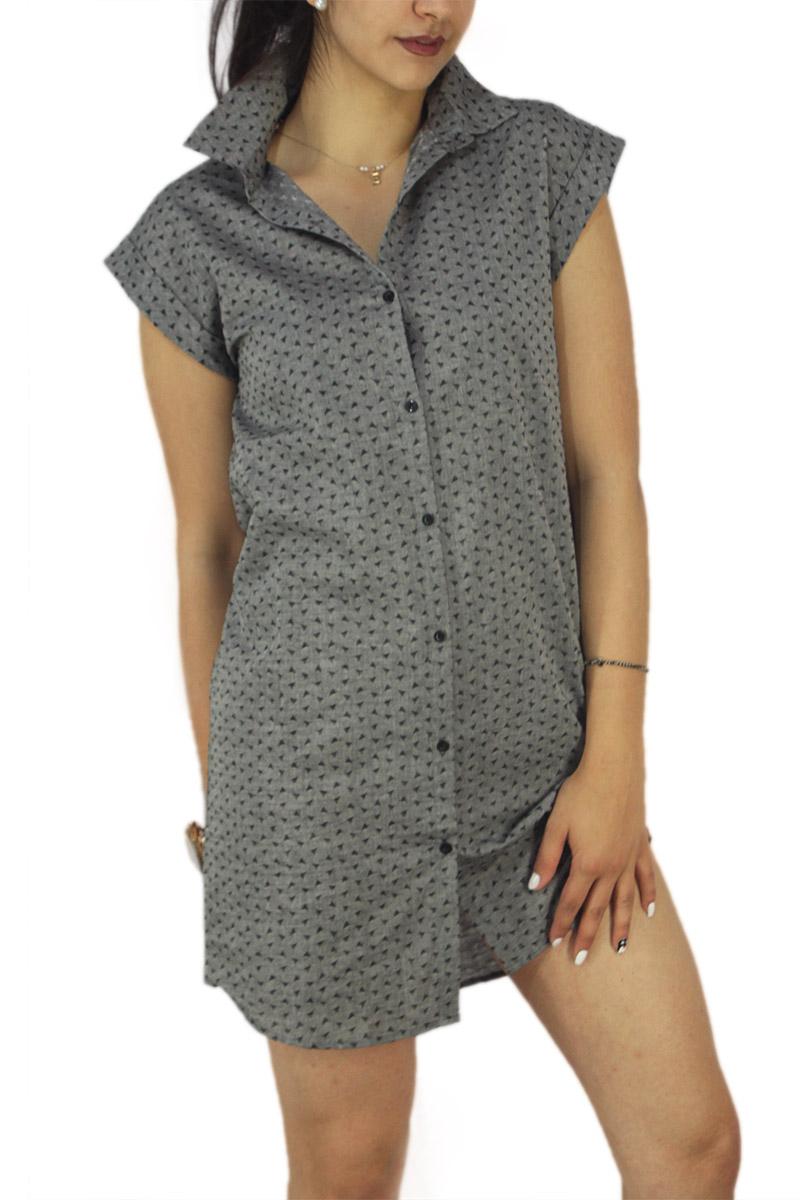 Soft Rebels αμάνικο σεμιζιέ μίνι φόρεμα Anju γκρι γυναικεια     φορέματα