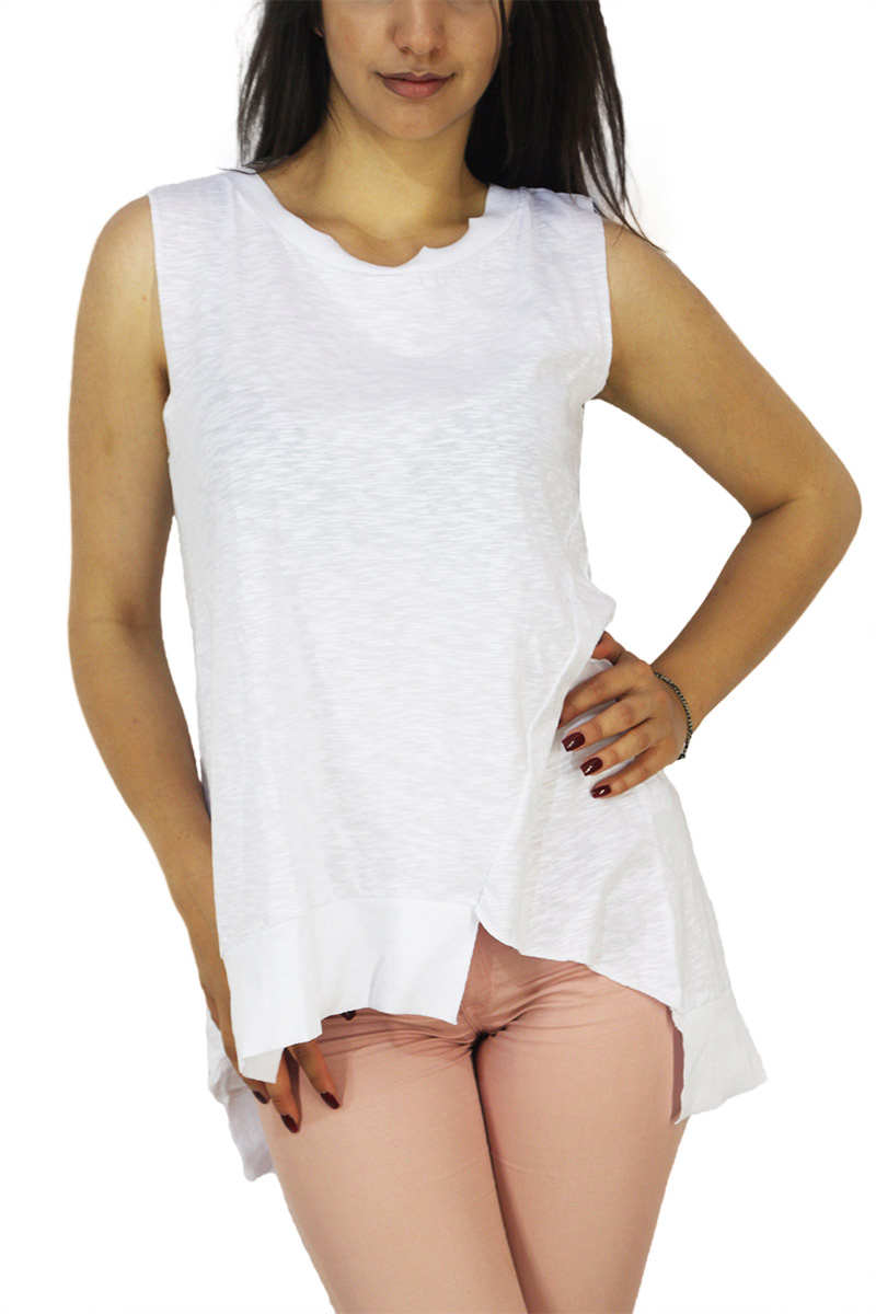 21 degrees γυναικεία αμάνικη longline μπλούζα φλάμα λευκό