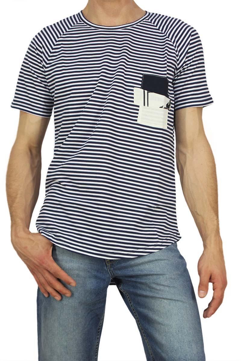 Bigbong ανδρικό longline t-shirt ριγέ navy με patch