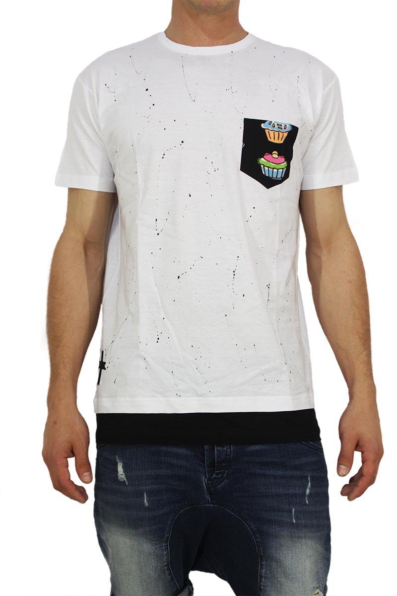 Crossover ανδρική longline μπλούζα λευκή με τσεπάκι