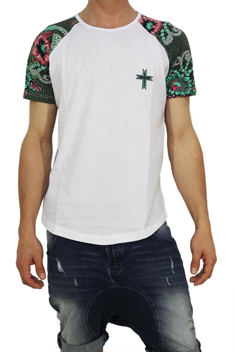 Crossover ανδρική longline μπλούζα λευκή με πριντ μανίκια