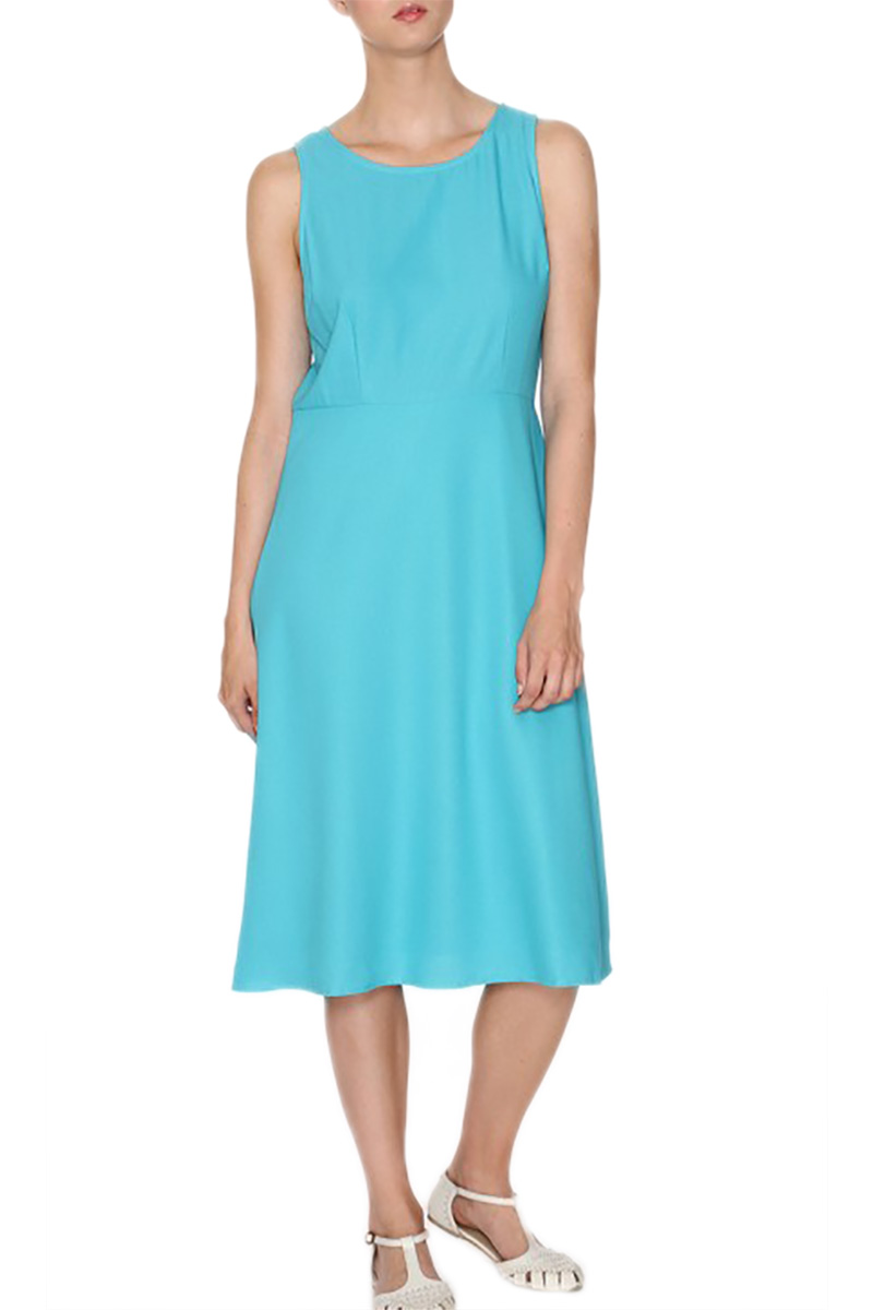 Pepaloves αμάνικο μίντι φόρεμα τυρκουάζ γυναικεια     φορέματα