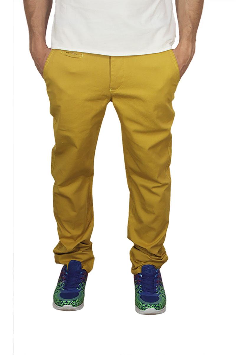 Ανδρικό slim fit chino παντελόνι κίτρινο