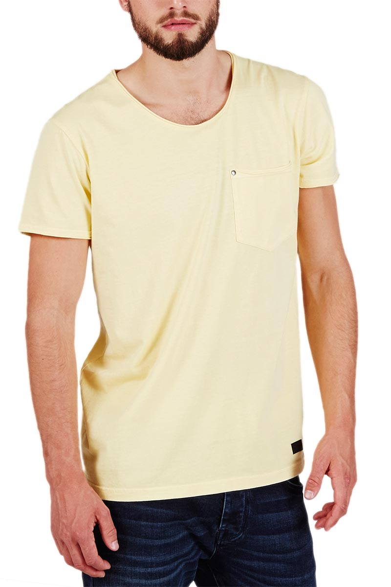 Minimum ανδρικό raw cut t-shirt Bradley απαλό κίτρινο