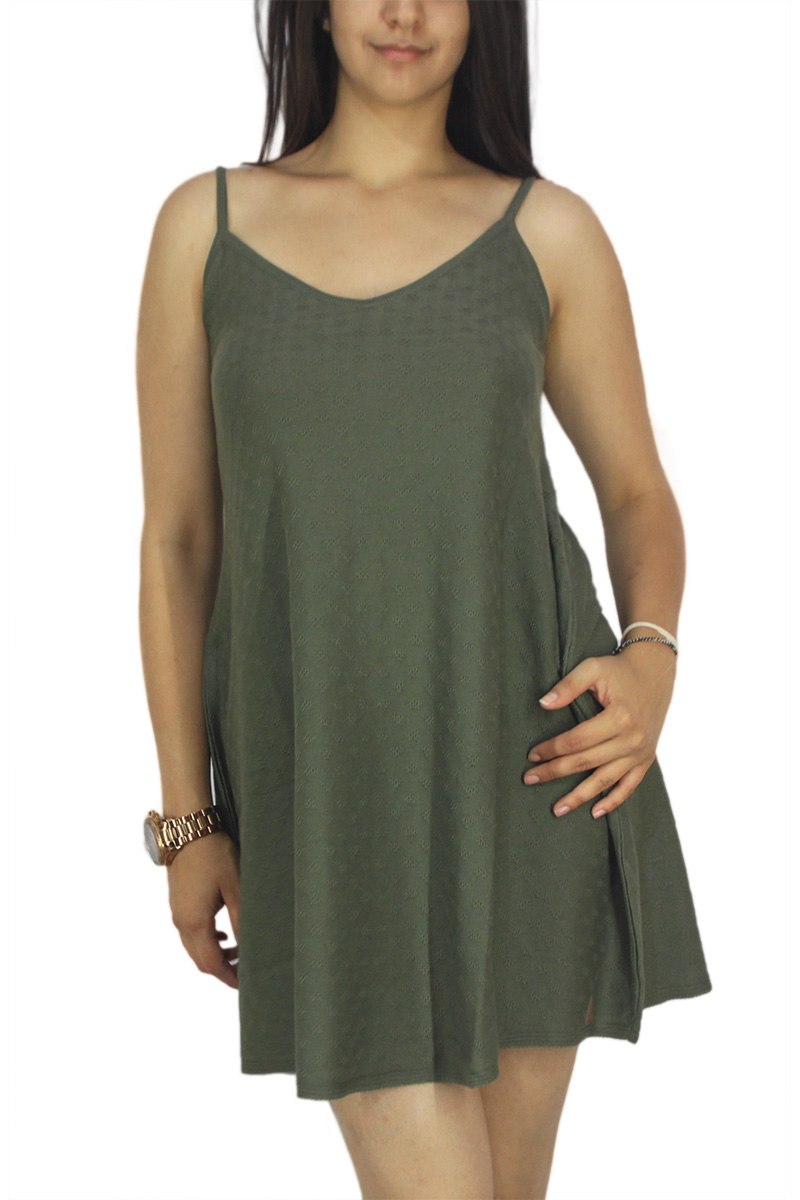 Agel Knitwear πλεκτό φόρεμα χακί με τιράντες