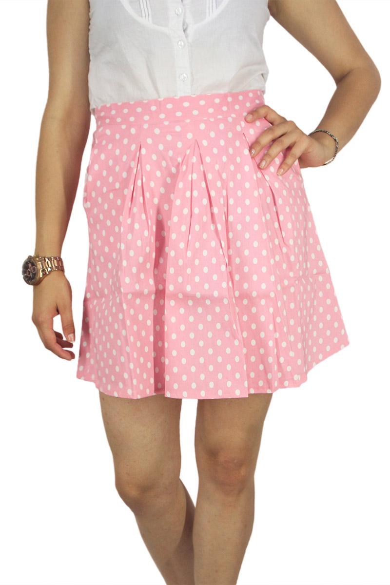 Migle + me mini φούστα πουά ροζ με πιέτες γυναικεια     φούστες