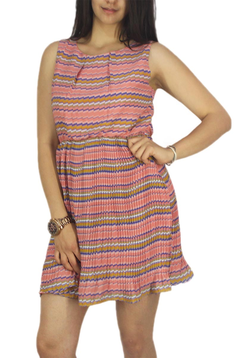 Migle + me αμάνικο πλισέ φόρεμα έντονο ροζ με πριντ