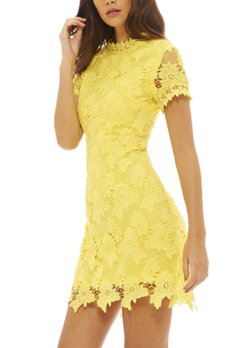 Κοντομάνικο μίνι φόρεμα κίτρινο από δαντέλα 2164e715797