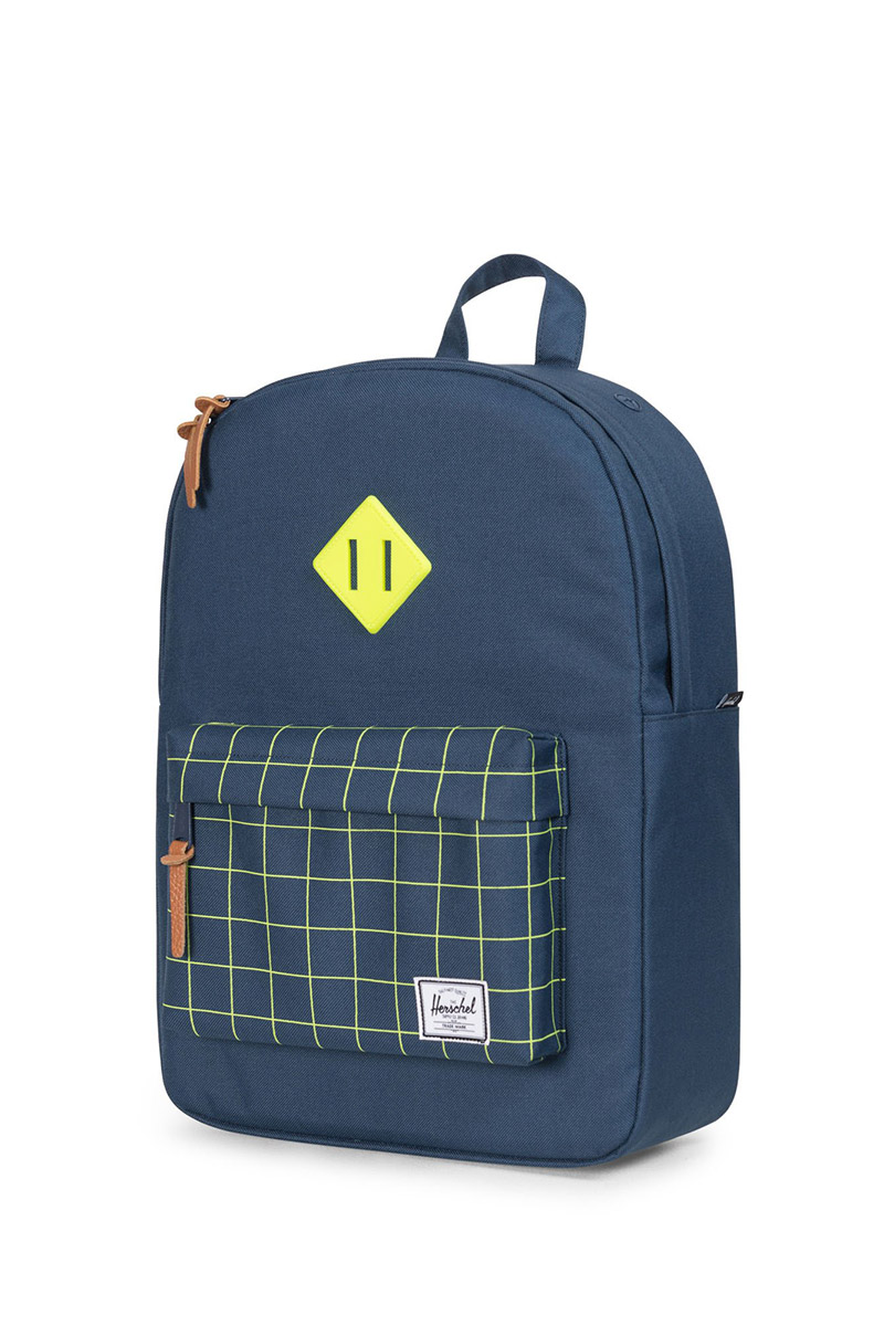 ae1dc02cf4 Herschel Supply Co. Heritage Youth backpack navy grid neon lime rubber