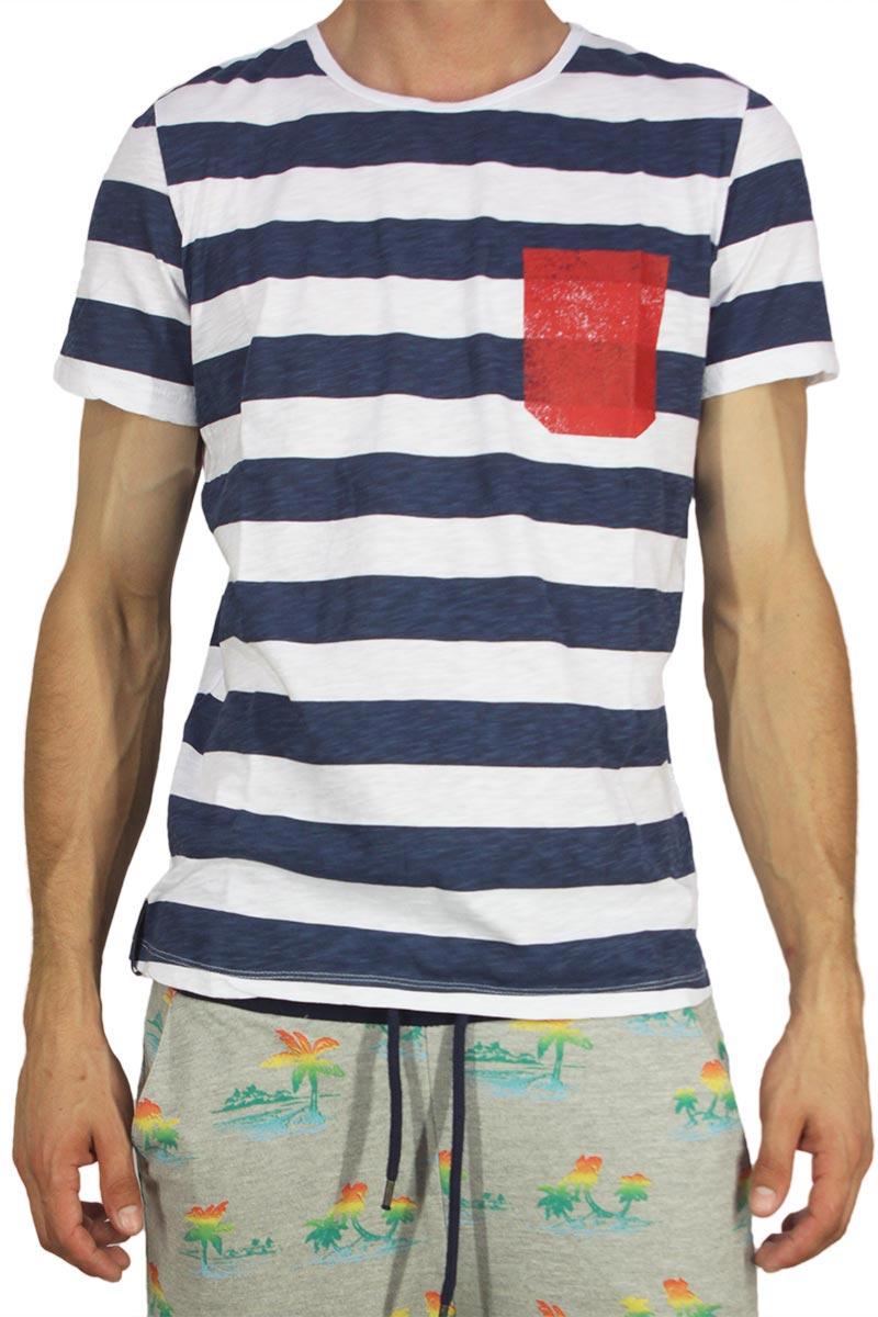 265c438dabc4 Best choice ανδρικό ριγέ t-shirt με στάμπα τσέπη