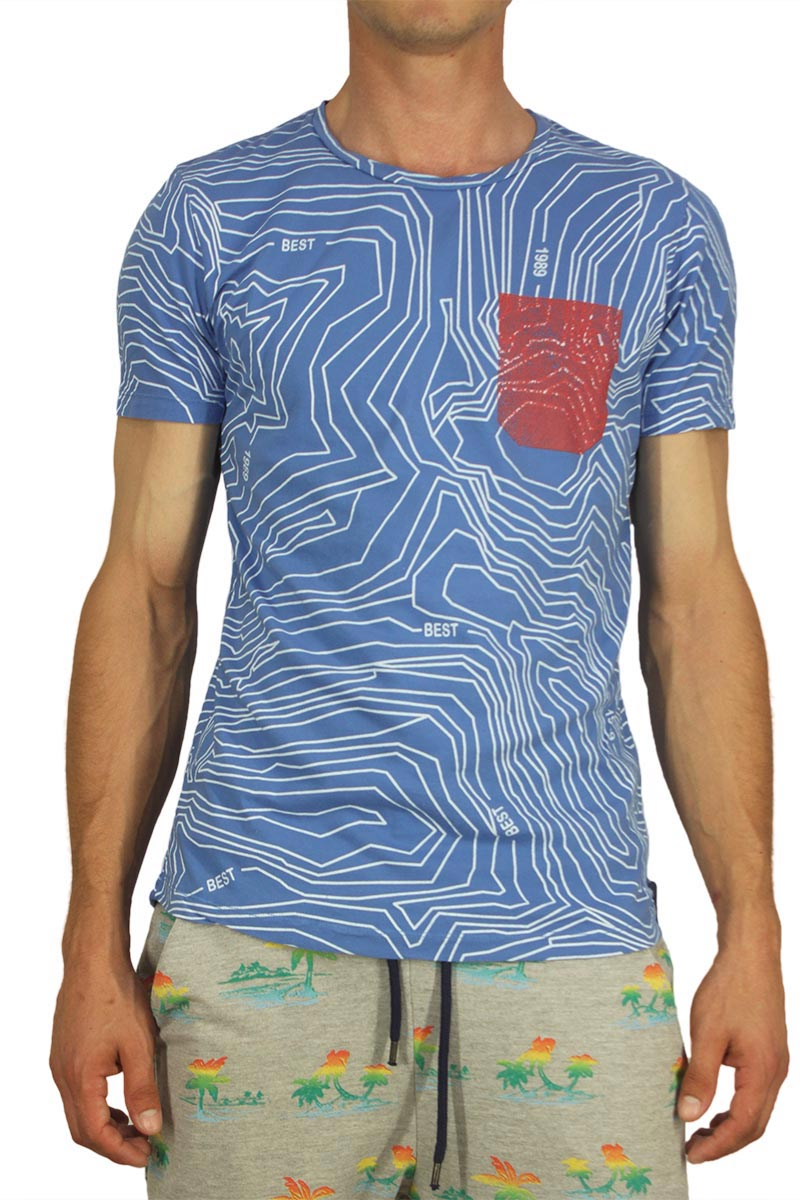 Best choice ανδρικό t-shirt winze print blue