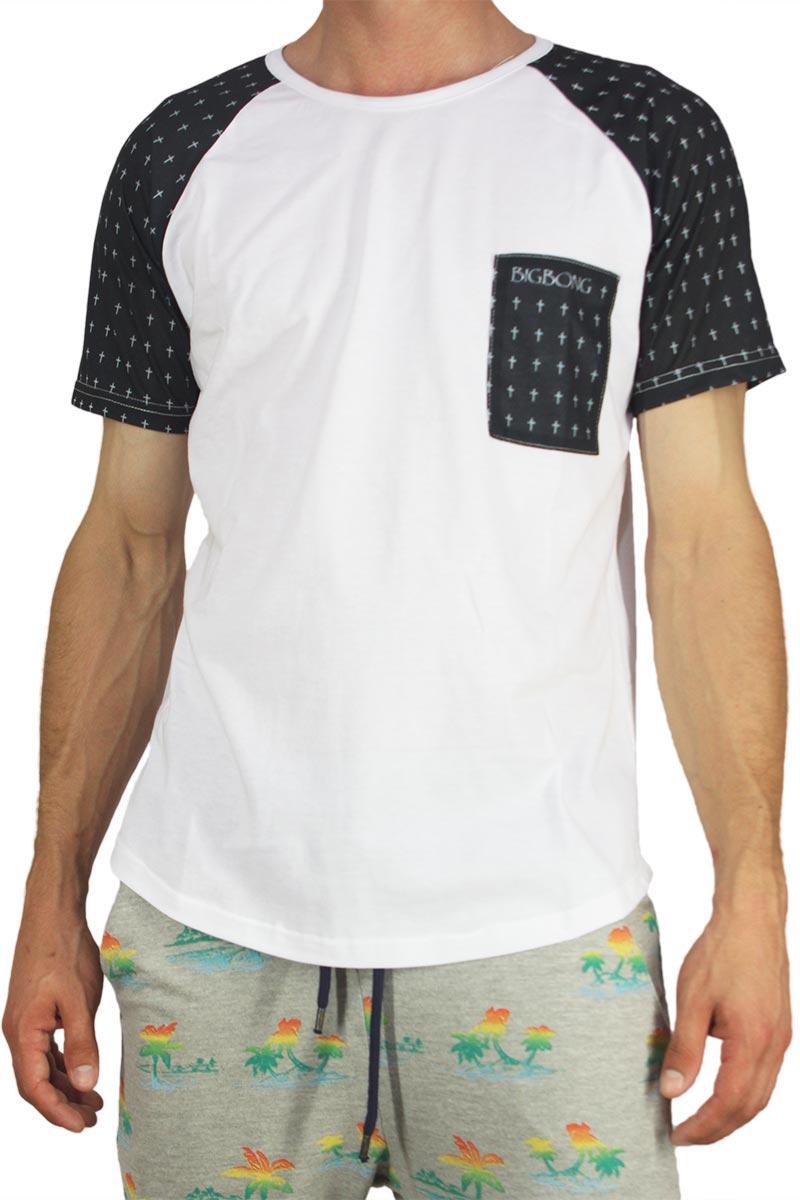 Bigbong longline t-shirt λευκό με cross print μανίκια