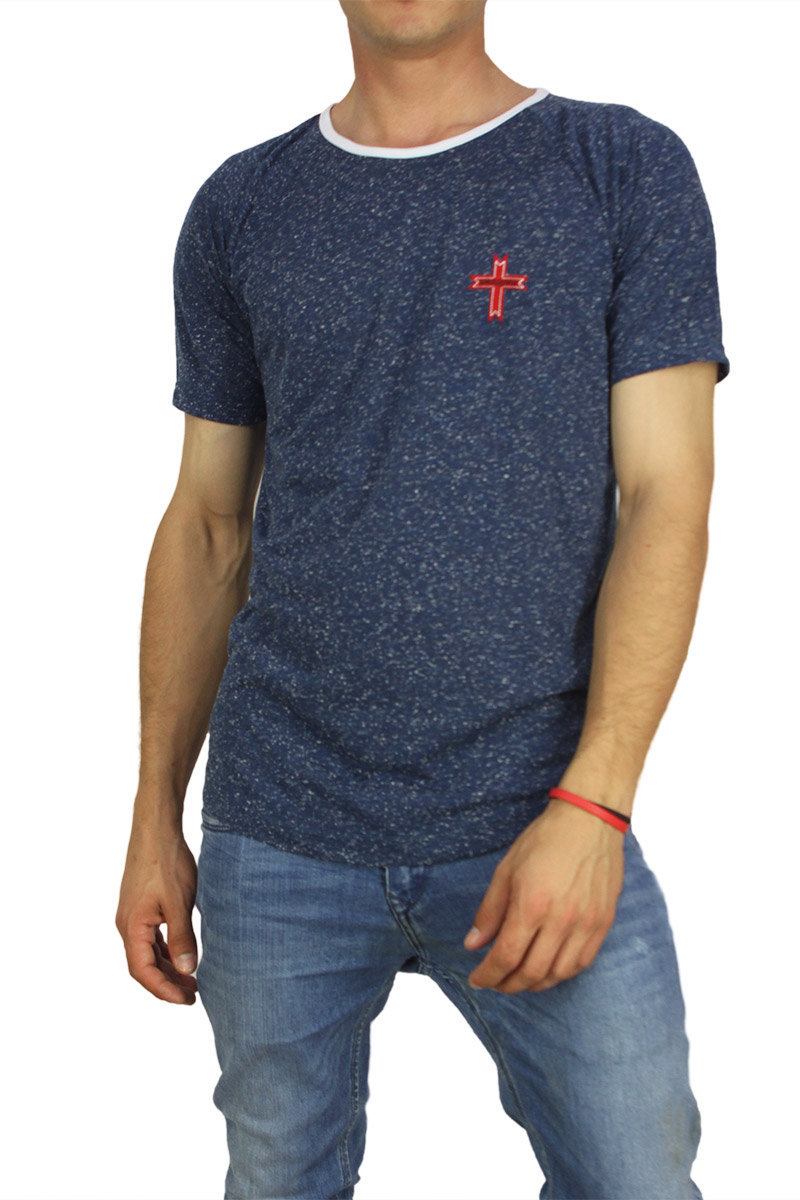 Crossover ανδρική μπλούζα longline navy με κουκίδες image