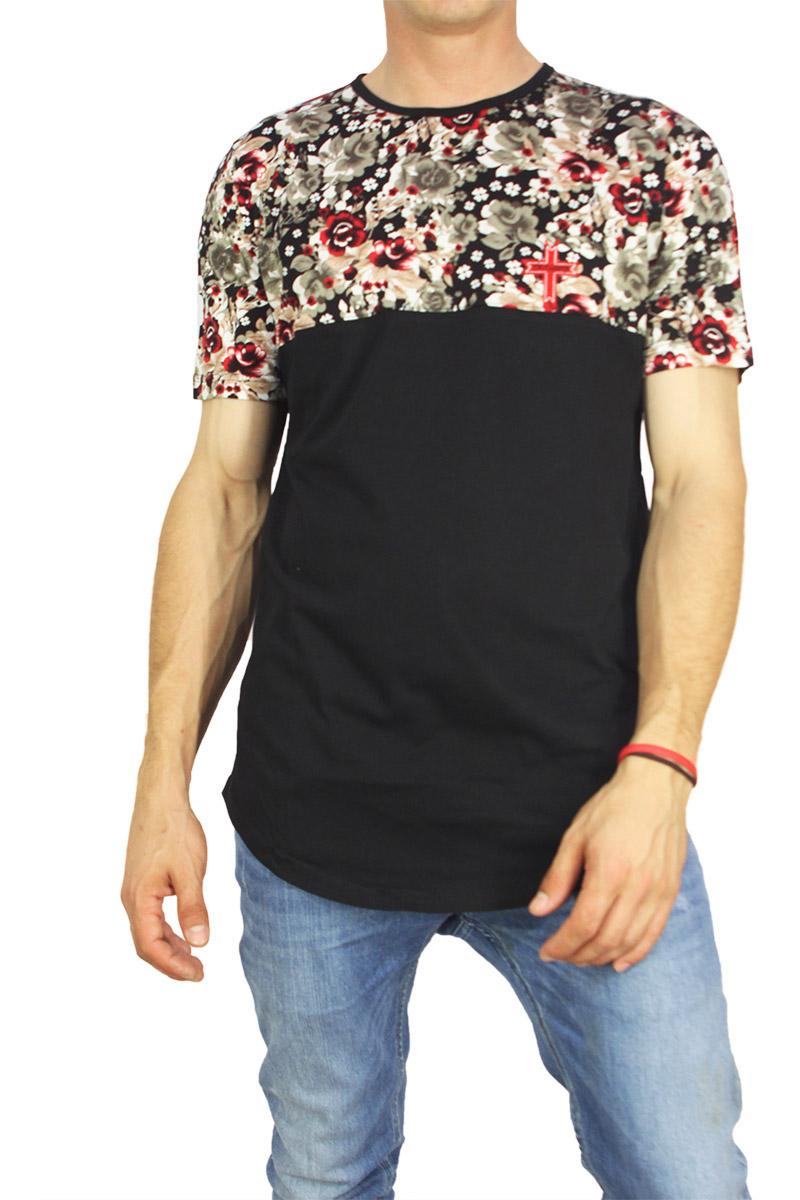 Crossover ανδρική μπλούζα longline μαύρη με φλοράλ πάνελ image