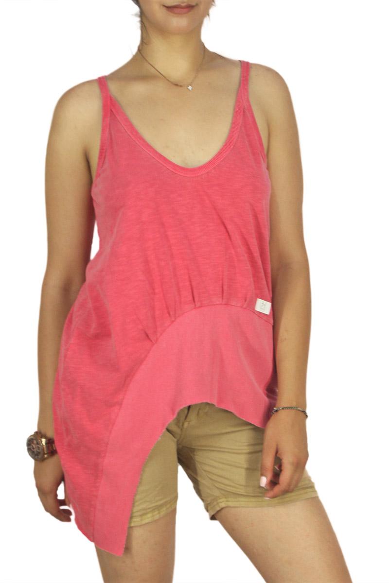21 degrees τιραντέ μπλούζα με V-ντεκολτέ φλάμα φούξια γυναικεια     μπλούζες