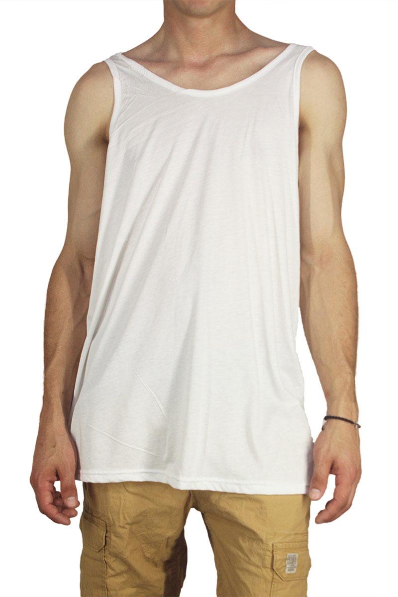Dog's Dinner longline αμάνικο μπλουζάκι Flamingo λευκό με πίσω στάμπα - 193020-wh