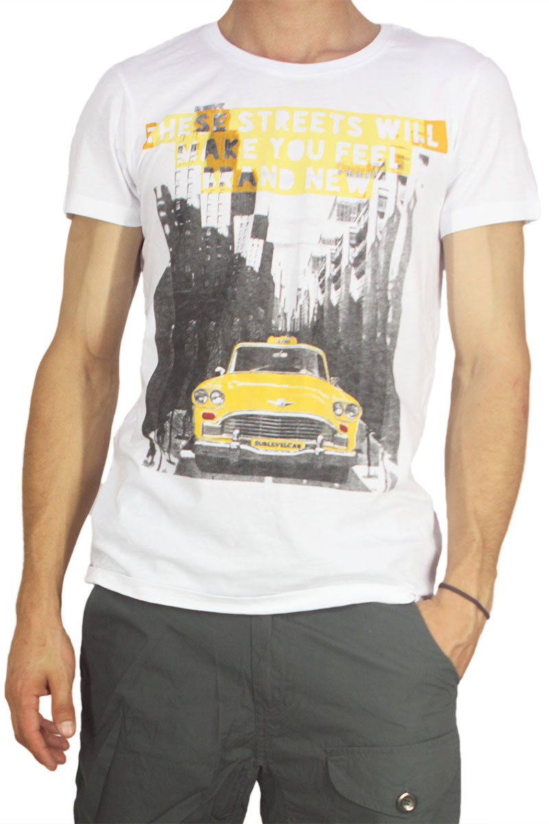 Ανδρικό λευκό t-shirt These streets will make you feel new