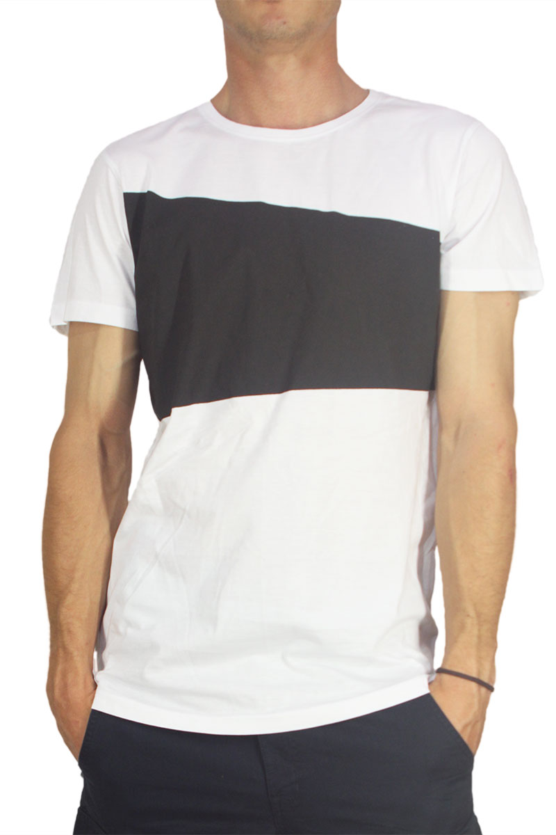 Ανδρικό longline t-shirt λευκό με διαγώνια μαύρη στάμπα