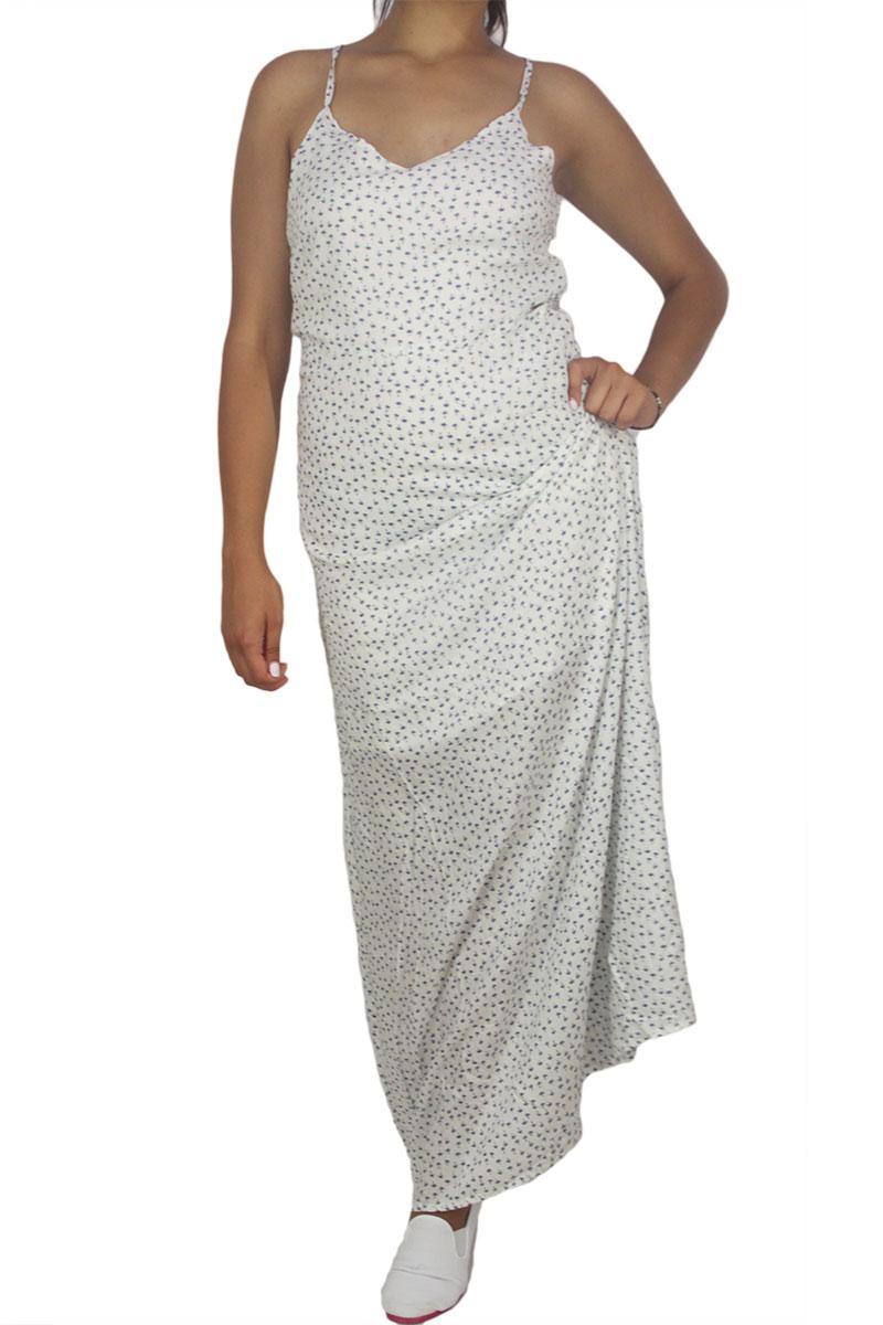 Paramita Kremen λευκό μάξι φόρεμα με φοίνικες πριντ