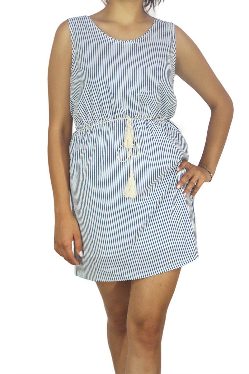 0dffe221f308 Paramita Marimba αμάνικο μίνι φόρεμα ριγέ λευκό-μπλε - s1661252