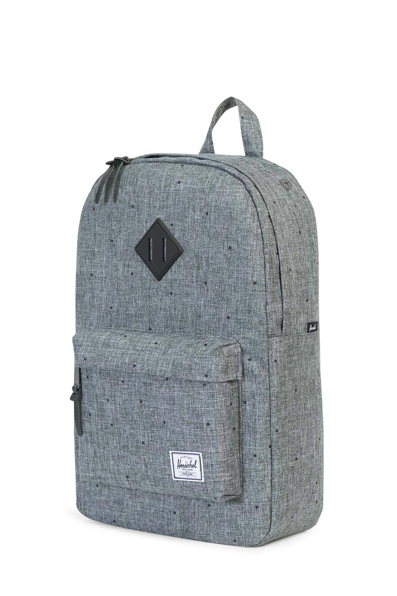 c7c8e3865b8 Herschel Supply Co. Heritage mid volume backpack scattered raven crosshatch  black rubber