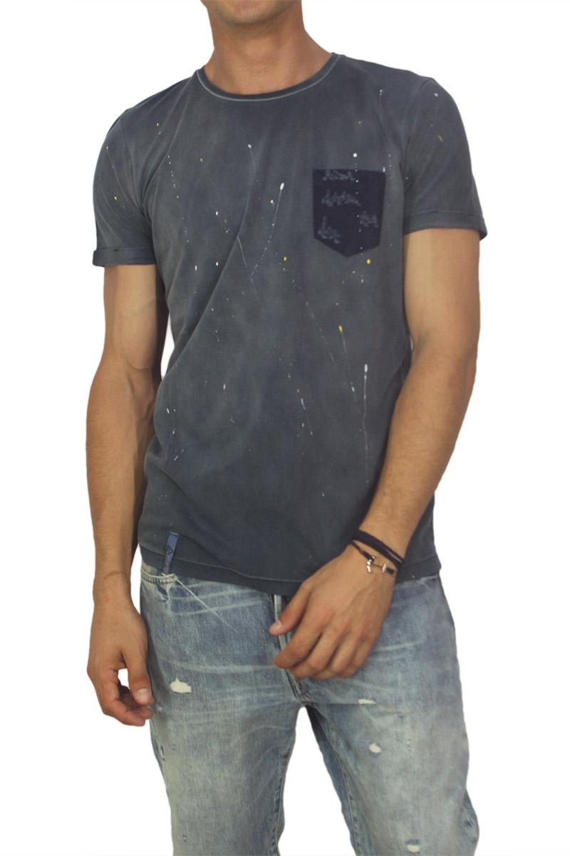 Best choice chrome ανδρικό T-shirt μπλε με πιτσιλιές