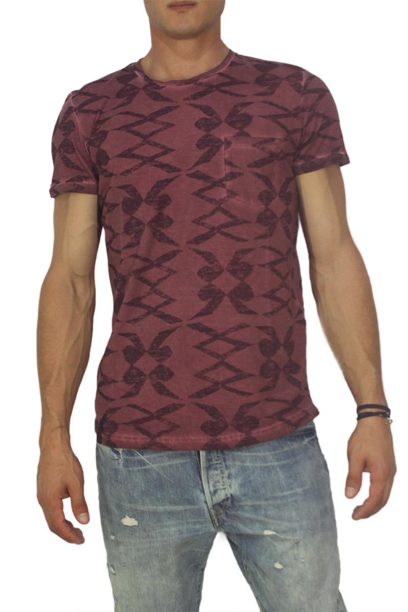 Best choice ανδρικό T-shirt μπορντό με τσεπάκι - w17083-raw-bor