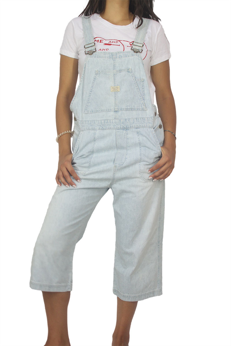 90s vintage denim gropped overall light blue