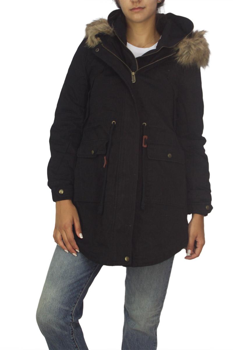 Γυναικείο επενδυμένο βαμβακερό παρκά μαύρο με διπλή πατιλέτα γυναικεια     μπουφάν