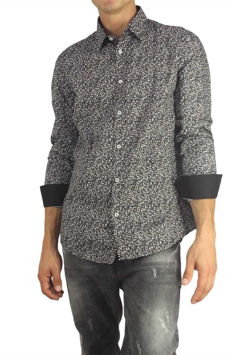 Missone ανδρικό πουκάμισο μαύρο με γκρι-λευκό πριντ