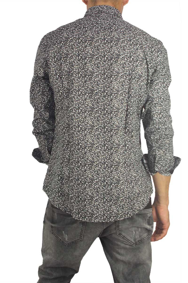 a4fbcfd5b627 Missone ανδρικό πουκάμισο μαύρο με γκρι-λευκό πριντ