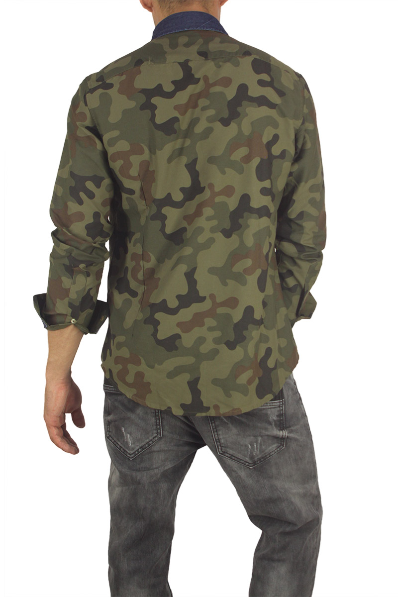 189b9d3cf06d Missone ανδρικό πουκάμισο μαύρο παραλλαγής λαδί