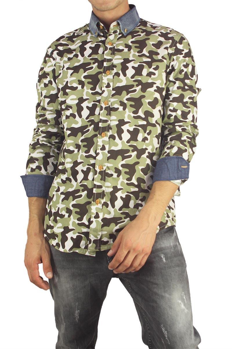 Missone ανδρικό πουκάμισο μαύρο παραλλαγής χακί ανδρικα   πουκάμισα